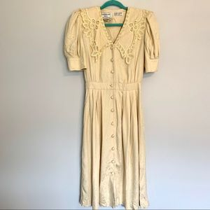 Vintage Karin Stevens Cream Knit Button Down Dress